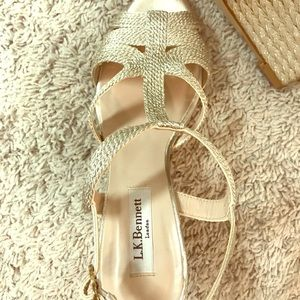 """Gold 4"""" Heel Designer Sandal"""